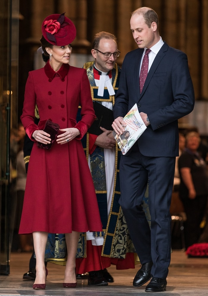 Catherine, Duchess of Cambridge and Prince William, Duke of Cambridge depart the Commonwealth Day Service 2020