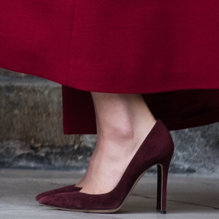 Catherine, Duchess of Cambridge rocked her favorite Gianvito Rossi shoes in Bordeaux suede
