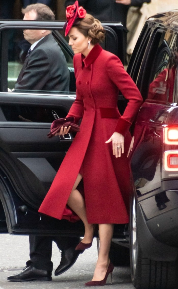 Catherine, Duchess of Cambridge looked lovely in a Catherine Walker coat