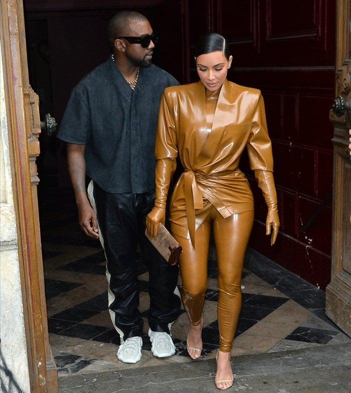 Kim Kardashian West and her husband Kanye West leave K.West's Sunday Service At Theatre Des Bouffes Du Nord - Paris Fashion Week Womenswear Fall/Winter 2020/2021