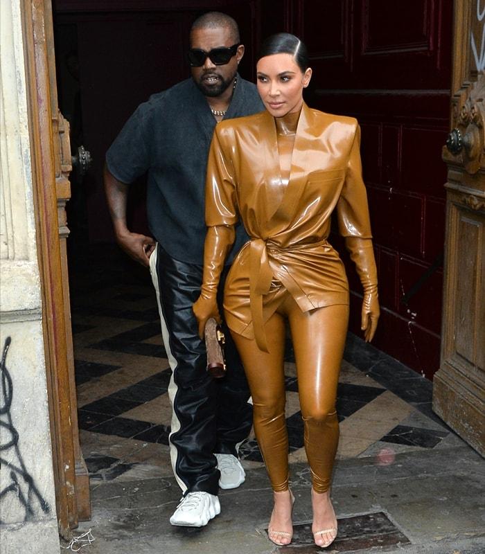 Kim Kardashian West and husband Kanye West leave K.West's Sunday Service