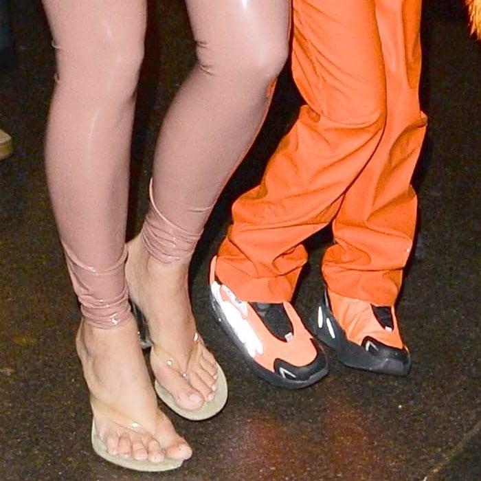 Kim Kardashian shows off her feet in Yeezy Season 8 thong sandals