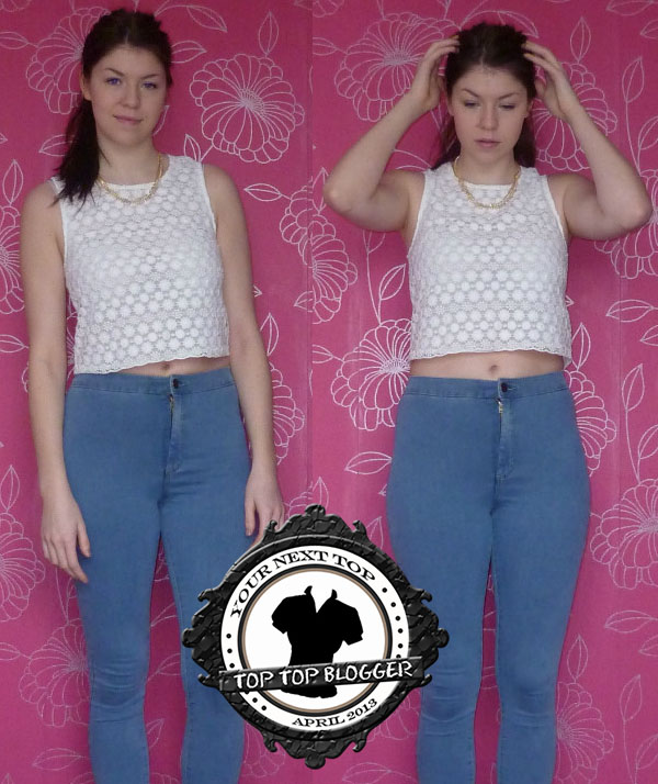 Laura Pratt is ready for spring in jeans paired with a crochet crop top