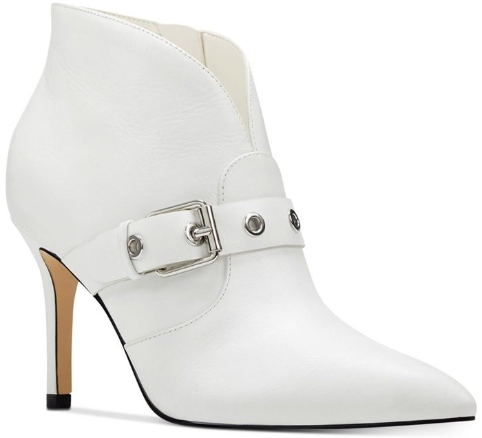White Buckled Nine West Jax Pointy-Toe Booties