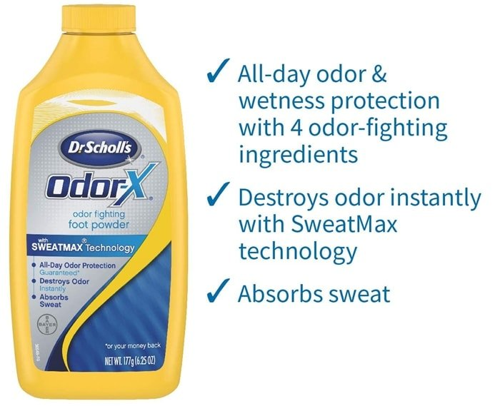Destroys odor instantly, leaving the feet cool and refreshed