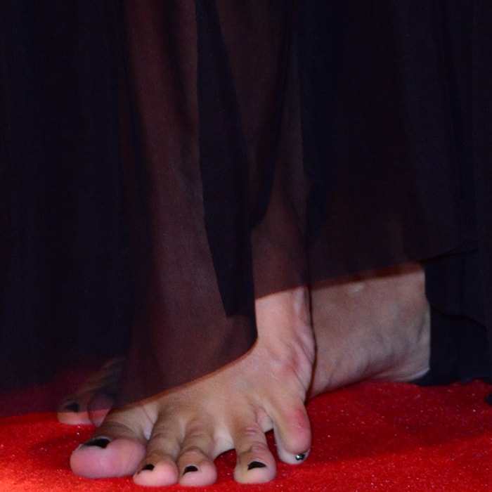 Penelope Landini went barefoot on the red carpet at the premiere of 'The Bleeder' during the 73rd Venice Film Festival at Sala Grande on September 2, 2016, in Venice, Italy