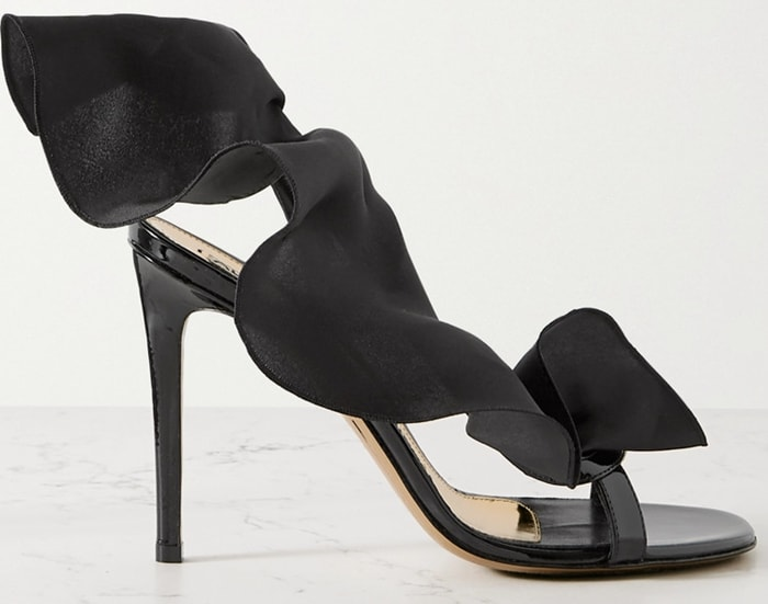 Strappy Penelope slingbacks embellished with a gathered ruffle that winds around the sandal