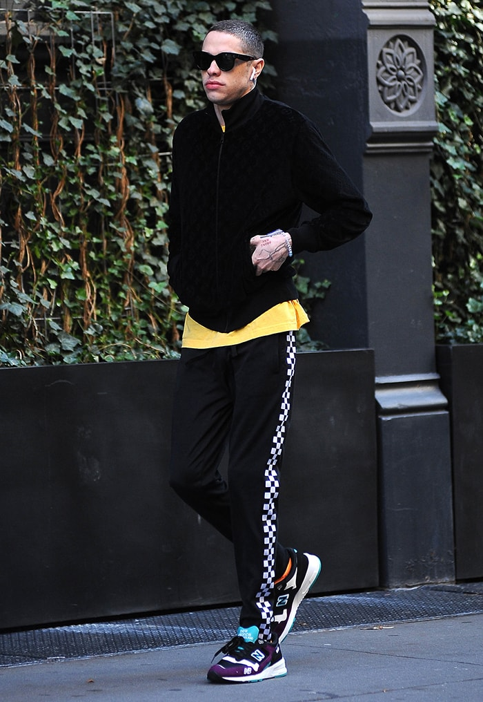 Pete Davidson leaving Kaia's SoHo apartment on October 23, 2019