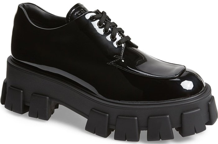 A sleek leather dress shoe tops a utilitarian chunky lug sole