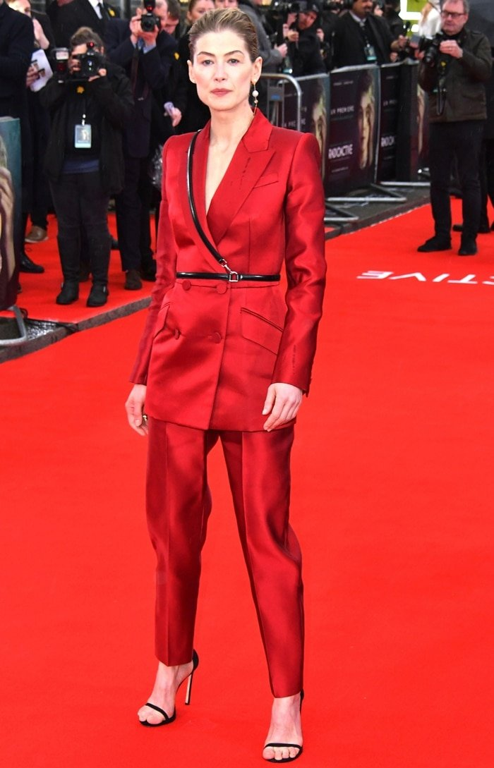 """Rosamund Pike wearing Alexander McQueen at the """"Radioactive"""""""