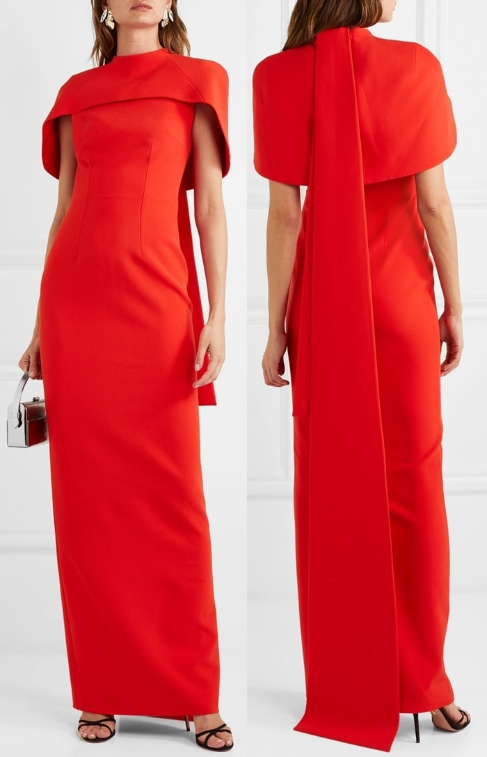 Made from striking red crepe, Safiyaa's 'Kalika' gown is perfect for special occasions