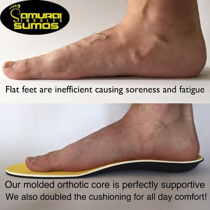 Samurai Insoles makes orthotic arch support inserts for flat feet/ plantar fasciitis