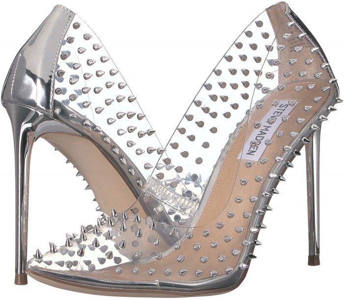 Spiky studs add rocker-chic attitude to a pointed-toe Vala pump lifted by a stiletto heel