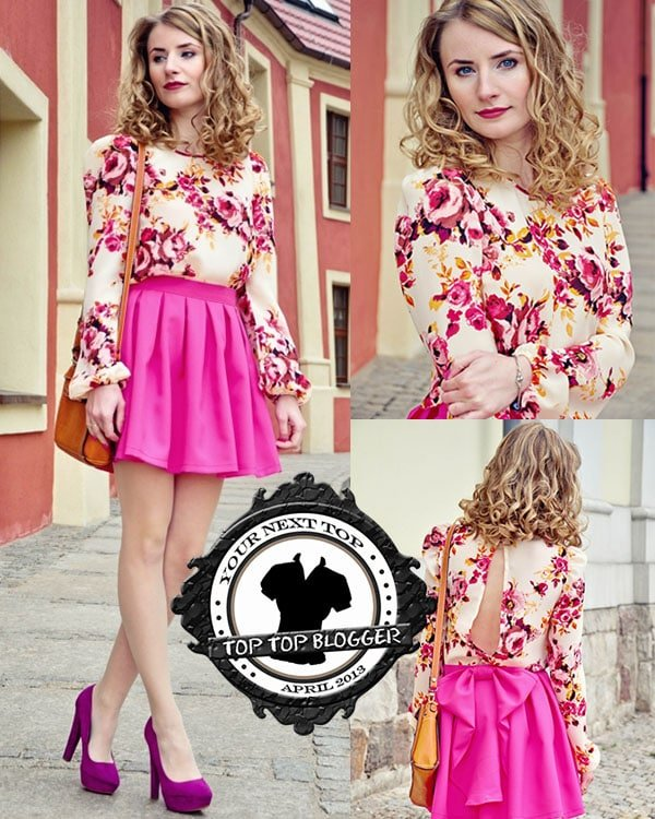 Sylwia styled a floral top with a pink skirt