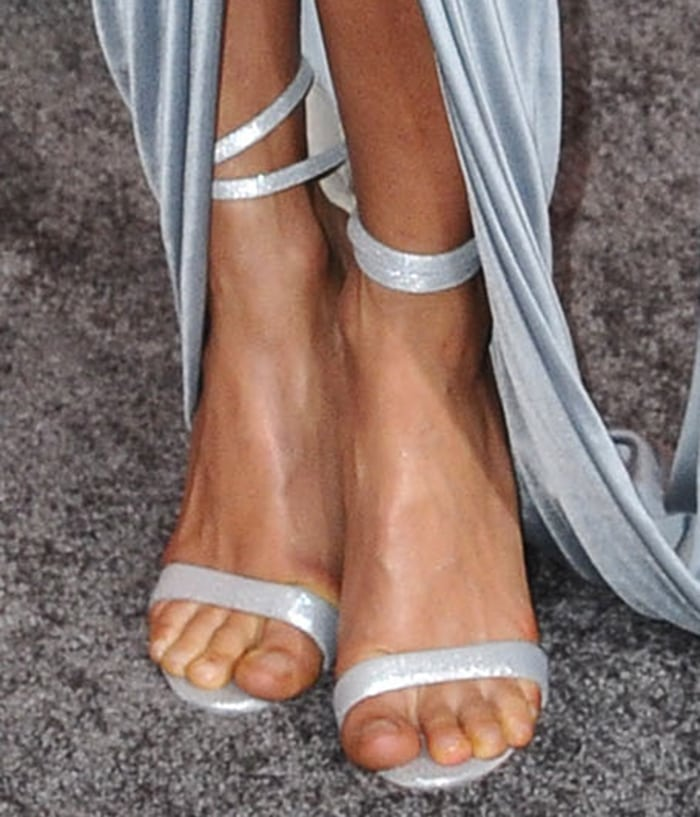 Thandie Newton shows off her hot feet in silver heels by Sophia Webster