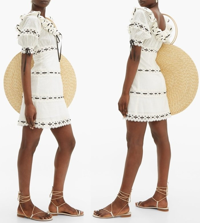 Zimmermann's inimitable feminine perspective is encapsulated by this white off-the-shoulder Honour mini dress