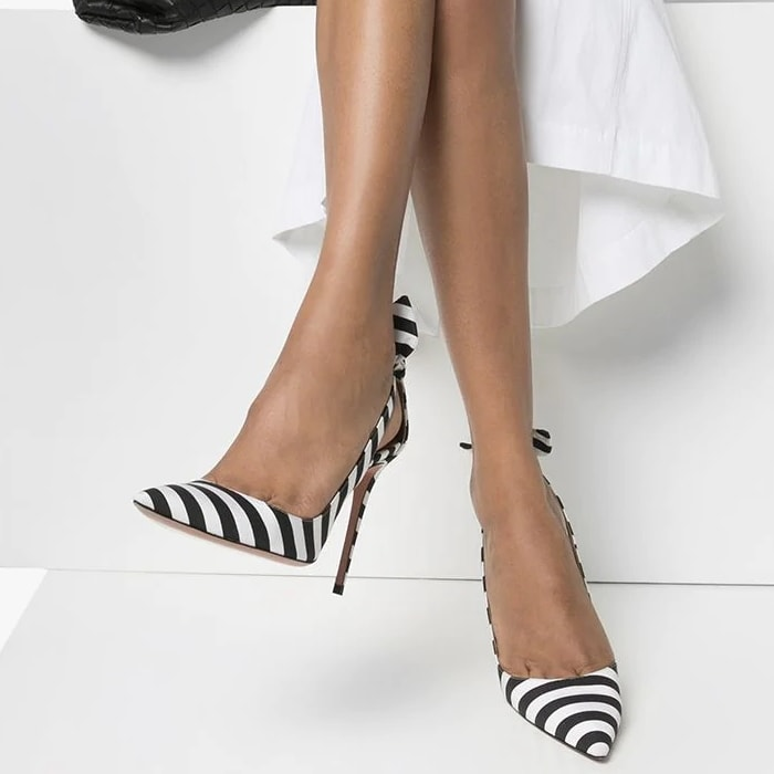 The striped glory of these Deneuve pumps from Aquazzura sit atop a towering 105mm heel