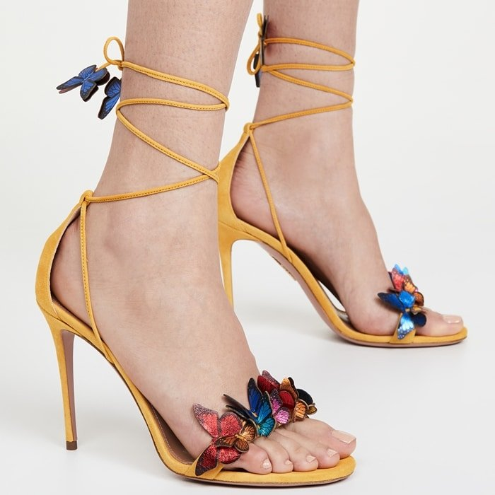 Aquazzura Sporty Yellow 105mm Papillon Heels