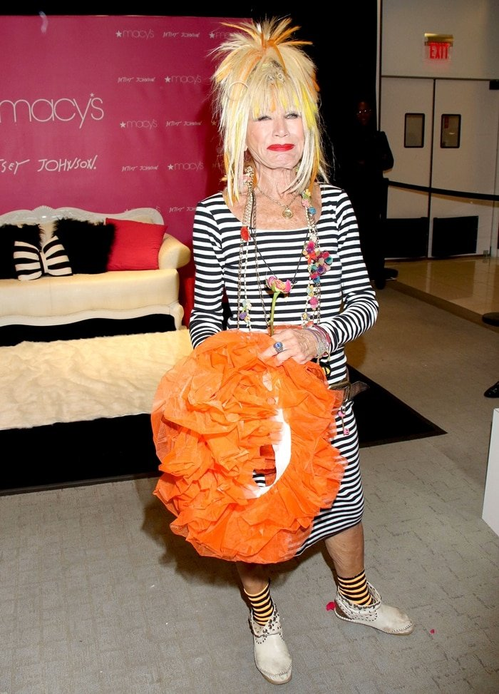 Fashion designer Betsey Johnson arrives at Macy's