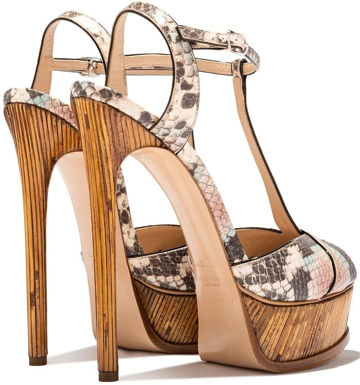 Multicolour leather Flora Midollino Masai Mara sandals from Casadei featuring an open toe, cut out details, a t-bar strap, a branded insole, an ankle strap with a side buckle fastening, a platform sole and a high heel