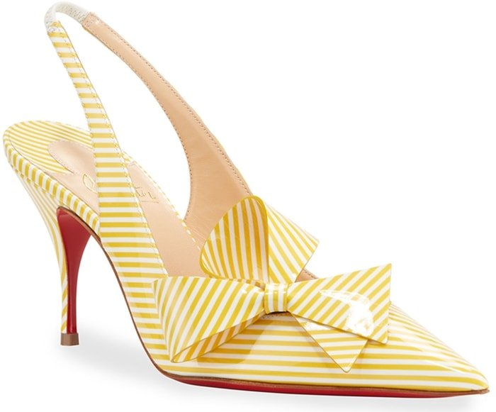 Yellow/White Clare Nodo Striped Side-Bow Red Sole Slingback Pumps