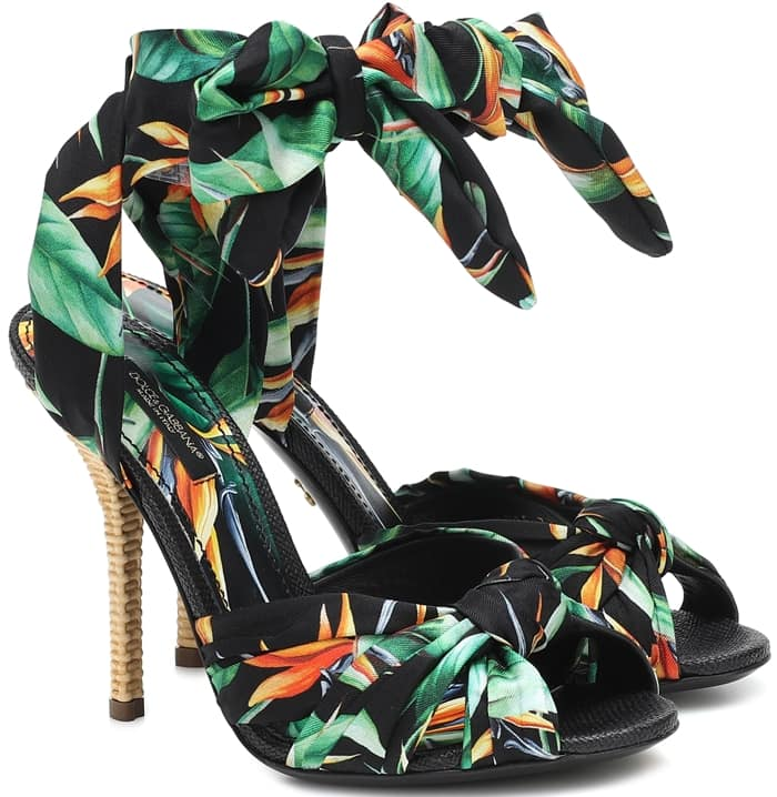 Graphic florals lend a vibrant aesthetic to these sandals