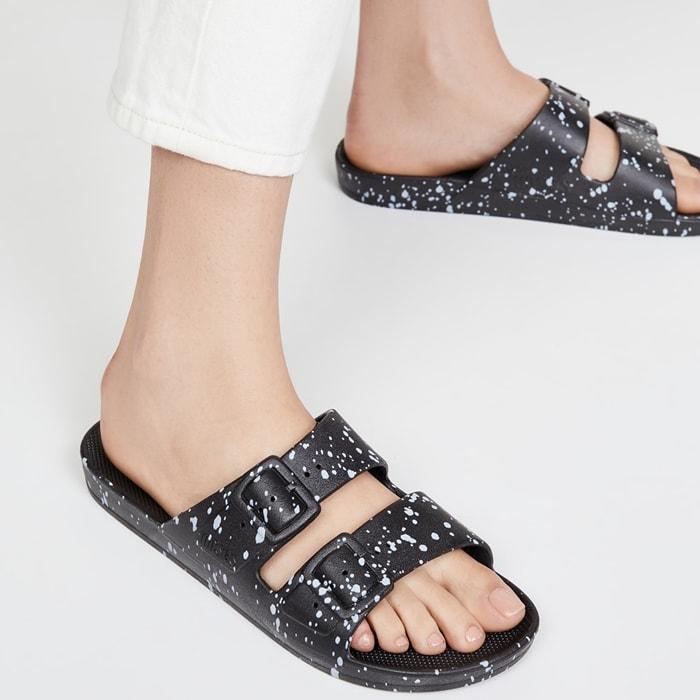 Black Splatter Freedom Moses Summer Sandals