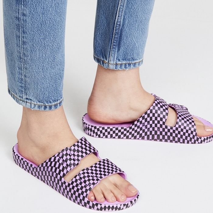 Purple Check Pattern Summer Shoes