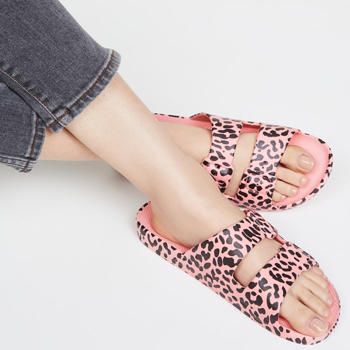 Pink Leopard Print Two Band Warm-Weather Sandals