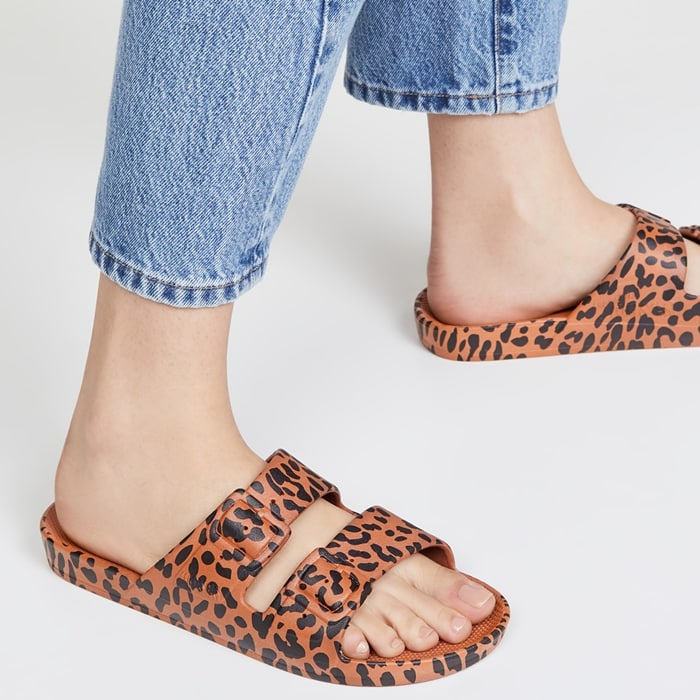 Toffee Leopard Print Two Band Warm-Weather Sandals