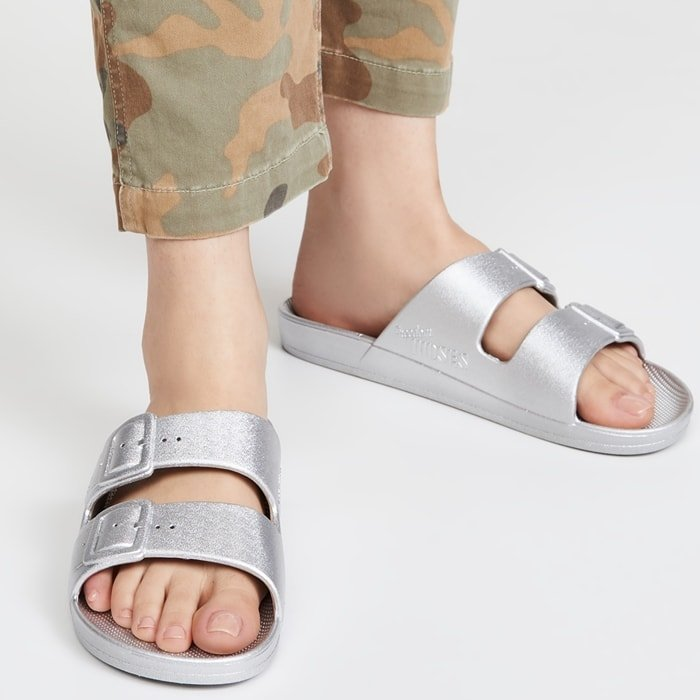 Silver Metallic Two Band Warm-Weather Sandals