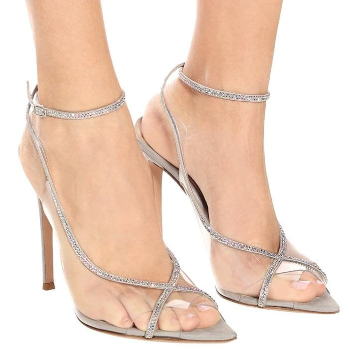 Gianvito Rossi's Crystelle sandals are packed with modern attitude thanks to their PVC construction and silver-toned 115mm stiletto heels