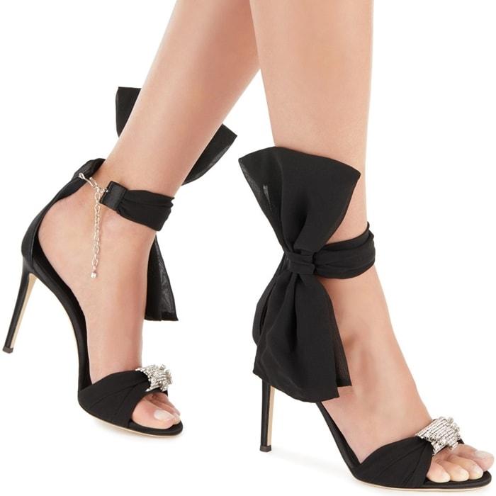 Black Etoile Ankle Bow Sandals