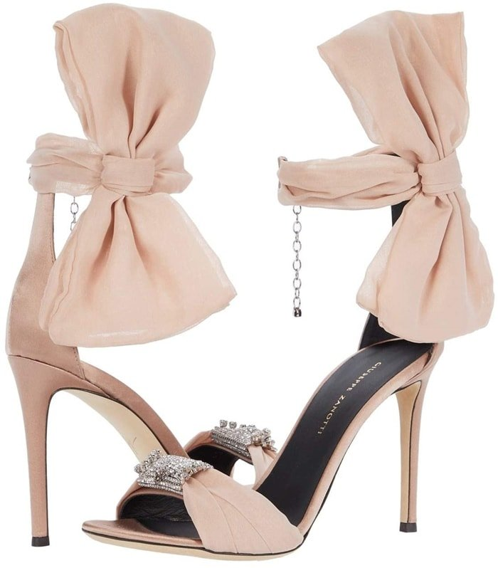 Giuseppe Zanotti sandal in silk satin with oversize bow at the ankle and Swarovski crystal ornament at the toe