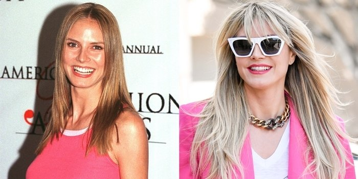 Heidi Klum before and after: Attending the 1999 CFDA American Fashion Awards and out shopping in March 2020