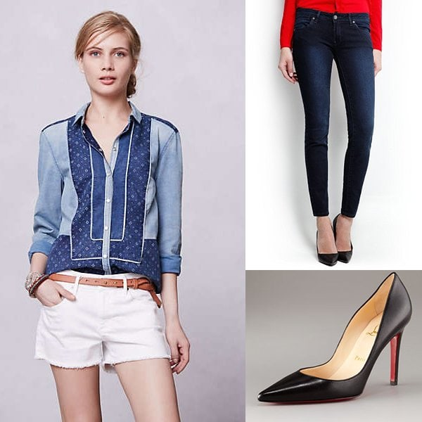 Anthropologie Patchwork Chambray Buttondown / Mango Super Slim Jeans / Christian Louboutin Pointed-Toe Black Leather Pump