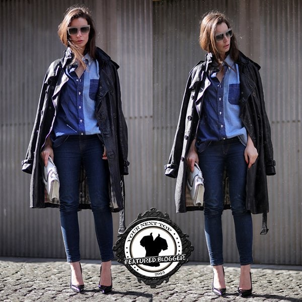 Irina rocks a patchwork chambray shirt with skinny jeans and sexy heels