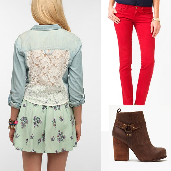 Urban Outfitters Pins And Needles Lace-Back Chambray Shirt / Forever 21 Colored Skinny Jeans / Nasty Gal x Jeffrey Campbell Rum Moto Boot