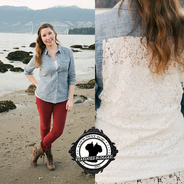 Kelsey wears a chambray top with red skinny jeans and lace-up boots