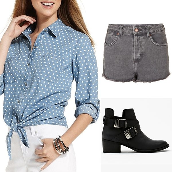 Style&co. Long-Sleeve Dot-Print Chambray Shirt / Topshop Moto Grey High Waist Hotpants / Grizz Strapped Boot