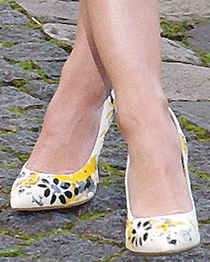 Lucy Hale boosts her height with Miu Miu floral pumps