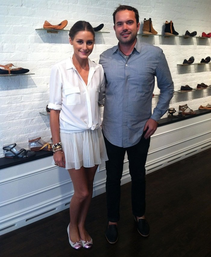 Footwear designer Matt Bernson and Olivia Palermo at his shoe store in Tribeca in 2012