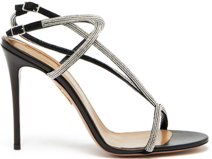 Aquazzura Moondust micro crystal studded leather sandals