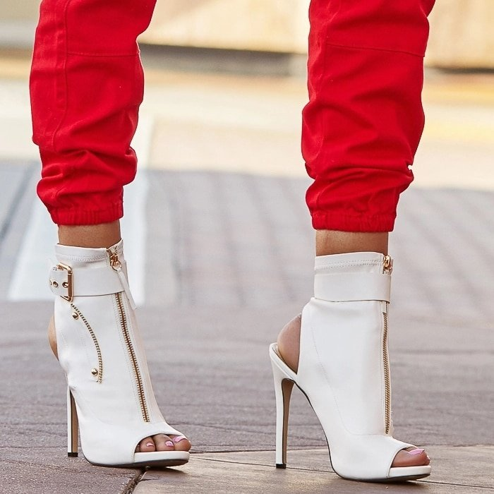 White Mya Faux Leather Sandals