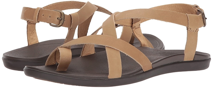 Crisscrossed leather straps top a toe-loop sandal designed with a cushioned, anatomically-molded footbed and durable rubber sole for supreme comfort and traction