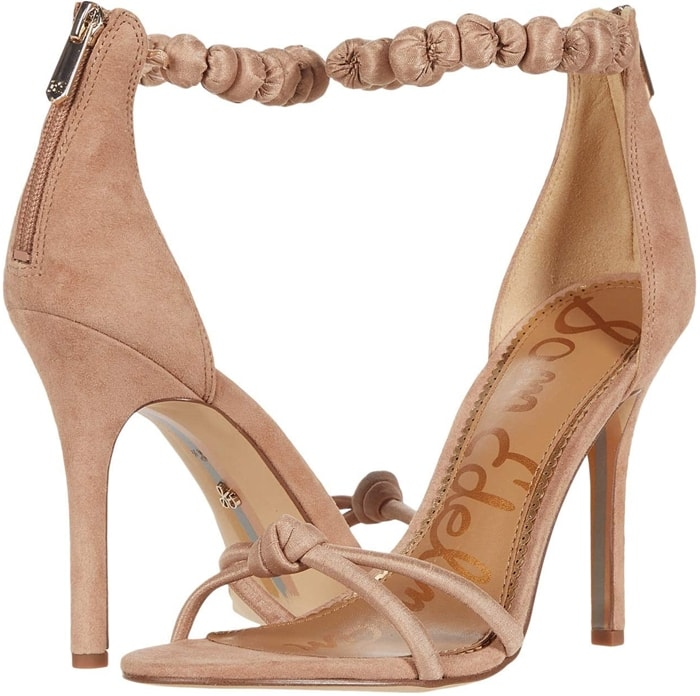 A bunched scarf anklet and knotted strap detailing bring together the chic Aria sandals from Sam Edelman