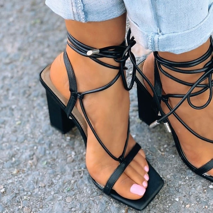Scandalous Lace Up Square Toe Block Heel In Black Faux Leather