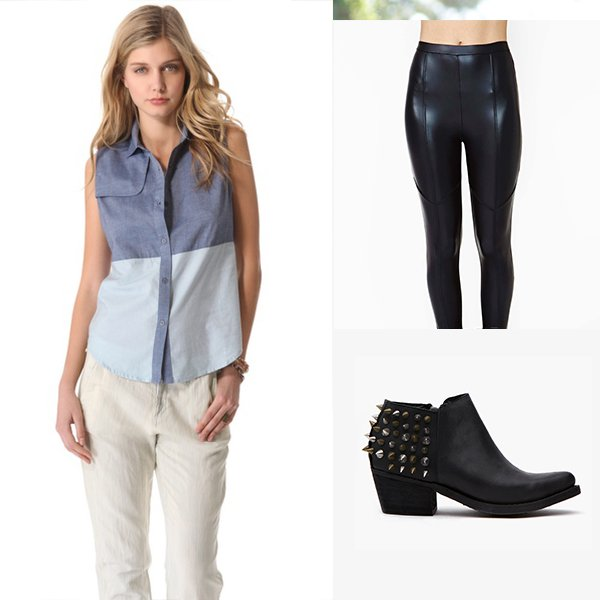 State & Lake Sleeveless Chambray Shirt / Fever Pitch Leggings / Arizone Spiked Bootie