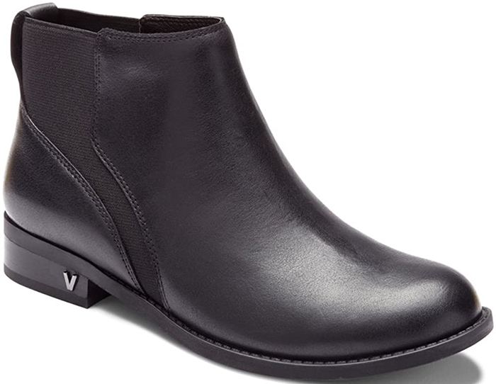 This bootie features weather-resistant leather upper material and pull-on design with side goring
