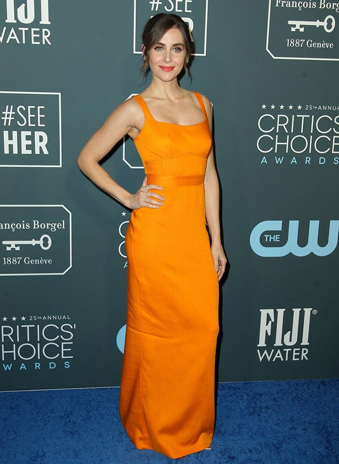 Alison Brie flaunts her curves in a Miu Miu gown at the 2020 Critics' Choice Awards on January 12, 2020